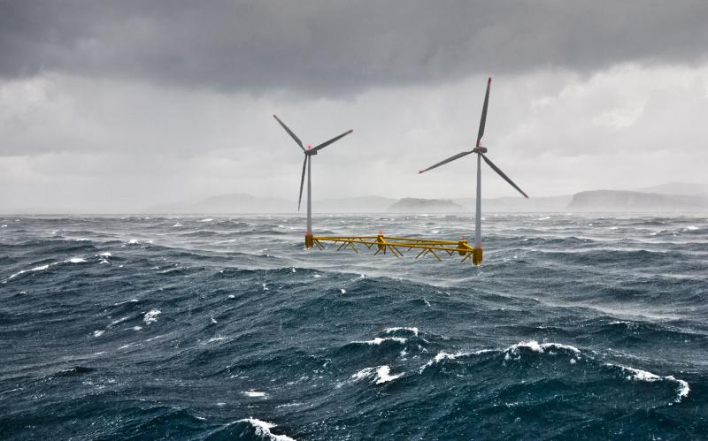 Photo of proposed multi-turbid floating wind platform in the North Atlantic.
