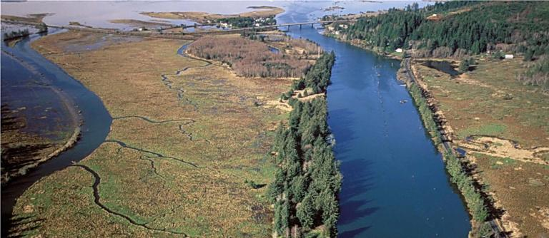 Siletz River mouth and Millport Slough.\Photo by Roy Lowe.