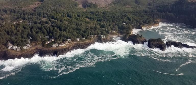 Aerial view of Whale Cove (upper right) and Little Whale Cove during a king tide.\Photo by Briana Goodwin.