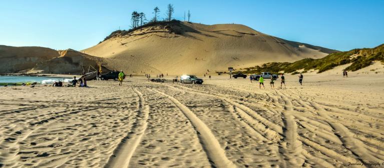 Heavy beach use at Cape Kiwanda.  Photo by Sonja Peterson.