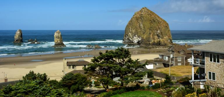 Housing and Haystack Rock.  Photo by Sonja Peterson.