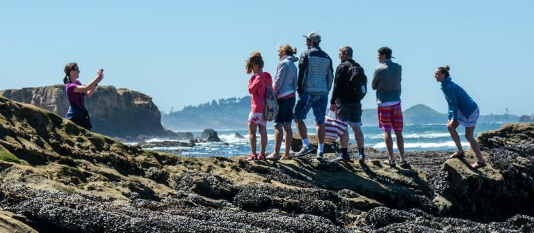 Young participants in a training at Otter Rock get a photo to remember the occasion.\Photo by Alex Derr.