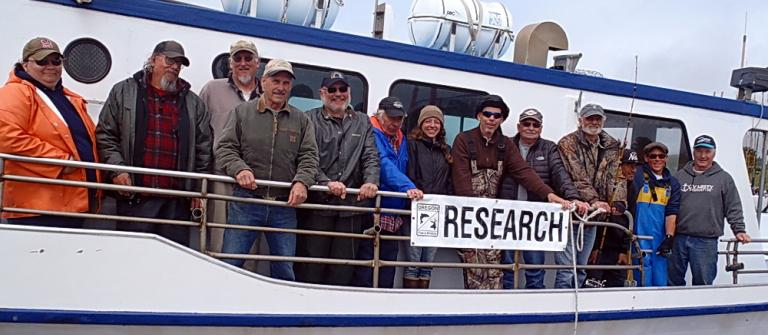 Volunteer anglers participating in marine reserves fishing surveys.  Photo courtesy of ODFW.
