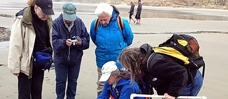 Fawn Custer leading tidepool field trip. Photo by Sara Schreiber.