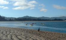 Kayakers crabbing in Siletz bay