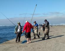Fishermen at mouth of Siletz River