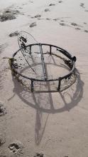 Beached crab pot