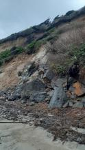 Slump along bluff