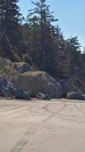 Landslide at mid-point Battle Rock Beach