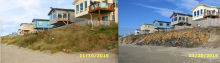 Comparison of changes in embankment due to storm damage over the years on the beach side of properties north of the Wakonda Beach Access from Nov 10, 2015 to Mar 20, 2019
