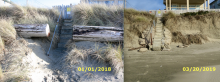 Comparison of changes to embankment after heavy surf from Jan 1, 2018 to Mar 20, 2019