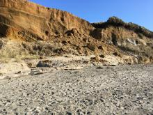 Cliff erosion and sand displacement