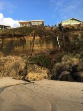 Drain pipes discharging on beach
