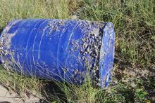 barrel on beach