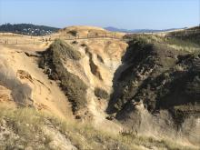 New erosion on west wall of bowl area