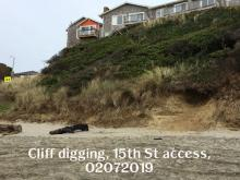 Cliff digging, 15th Street Auto access, Lincoln City, 02072019,
