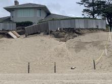 Significant dune erosion