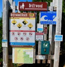 Driftwood Wayside warning sign