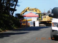 Entrance to PacWave construction site, Driftwood Wayside
