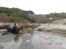 Looking from beach to Driftwood Wayside access path, 2/13/2021