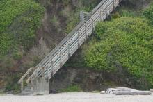 Steps from private property onto the beach
