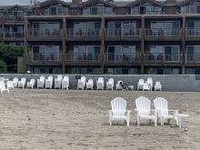 Chairs outside Ecola Inn on the beach