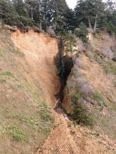 Land erosion due to waterflow.