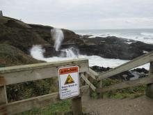 Warning sign and Spouting Horn