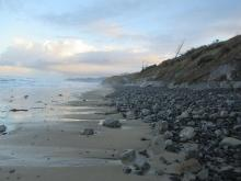 Loss of sand, returning to cobble beach.