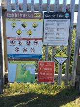 """new """"no fireworks"""" sign at Roads End State Park"""