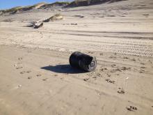 Trash can found on beach