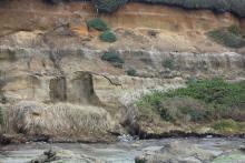 Collapsing cliff face.
