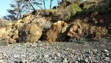 Erosion with large boulders.