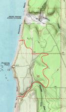 Oregon Coast Trail has been re-routed between fences, through gorse, and on Tokyo Road and Whisky Run Road.
