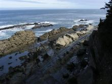 NW view of Pacific ocean from mile 119 in Oregon