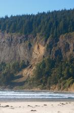 Obvious major rock slide.  Probably from last winter evidenced by the lighter exposed rock on cape lookout and the lack of vegetation in the slide area itself.