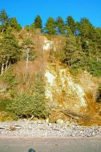 The waterfall was present in October probably contributing to the weakness of the cliff face in that area.