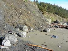 These high tides are eroding the toe of the landslide in the middle of the mile.