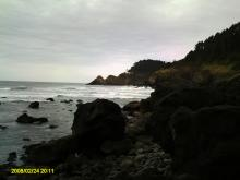 A view of Heceta Head Lighthouse, looking North, from Sea Lion Point.