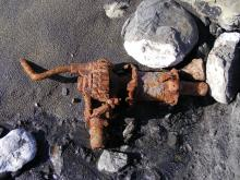 This old engine part probably has come from a past shipwreck and the removal of sand has uncovered it.  It is the first time we have seen this part.
