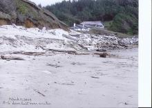 This shows the 5 to 6 feet of dune that was lost over this winter.  Photo taken on March 11, 2009.