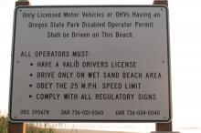 Poorly-worded sign at Whisky Run access, explaining vehicle regs. Note that there is nothing about Fivemile Point being the northern limit of legal vehicle use.