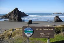 Meyers Creek Beach, Pistol River State Park sign
