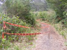 Small portion of trail about 1/4 mile north of old Shore Acres tennis courts marked off due to erosion.