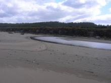Two Mile Creek on left and New River on Right join together to flow out to sea.