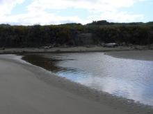 This shows the headland where the Two Mile Creek on the left and New River on the right join together and flow out to sea.