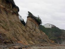 In January, 2006 a major crack appeared in the beach cliff just north of Grant Creek, separating a large chunk of the beach cliff.