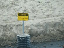 warning sign at Ecola Outfall pipe, where water may be contaminated at times.It is monitored by Surfrider with conjuction of Blue Water Task Force at Astoria High School, and the State of Oregon.
