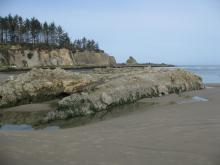 Intertidal area showing emergent rocks about 6 feet above sand on April 18, 2010. Normally, the rocks are buried by sand after winter storms