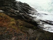 Typical basalt shoreline along milepost 229